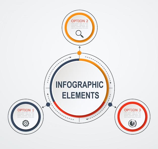 Modelo de infográfico de negócios de apresentação com 3 opções.