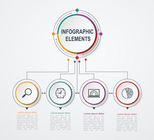 Modelo de infográfico de negócios de apresentação com 4 opções. conceito de negócio com círculos integrados.