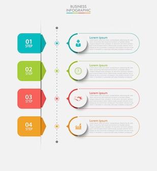 Modelo de infográfico de negócios de apresentação com 4 opções.