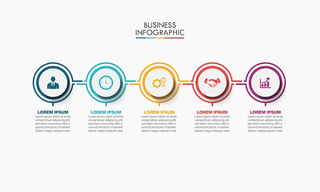 Modelo de infográfico de negócios de apresentação com 5 opções.