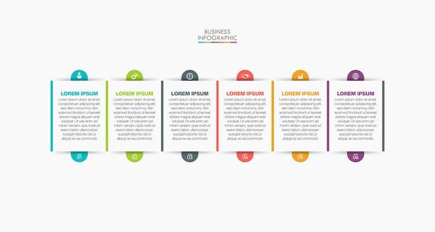Modelo de infográfico de negócios de apresentação com 6 opções.