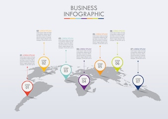 Modelo de infográfico de negócios de apresentação com 7 opções.