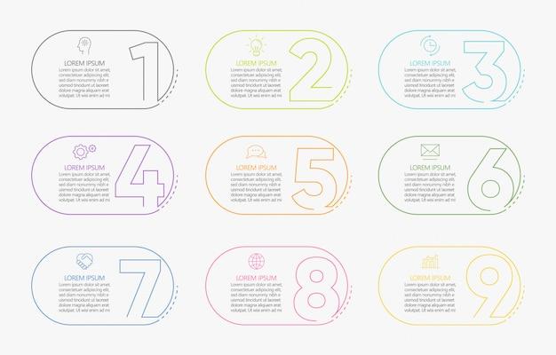 Modelo de infográfico de negócios de apresentação com 9 opções.