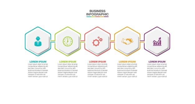 Modelo de infográfico de negócios de apresentação com cinco opções.