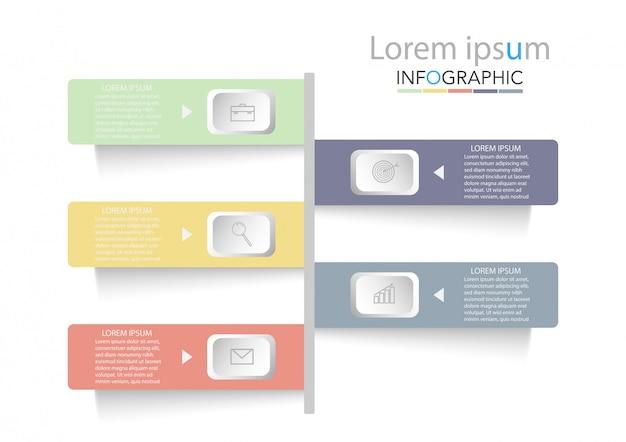 Modelo de infográfico de negócios de apresentação com opções.