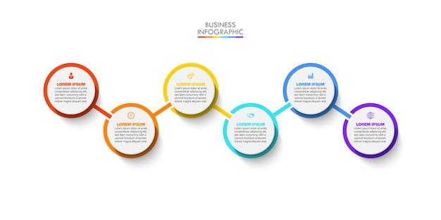 Modelo de infográfico de negócios de apresentação com seis opções.