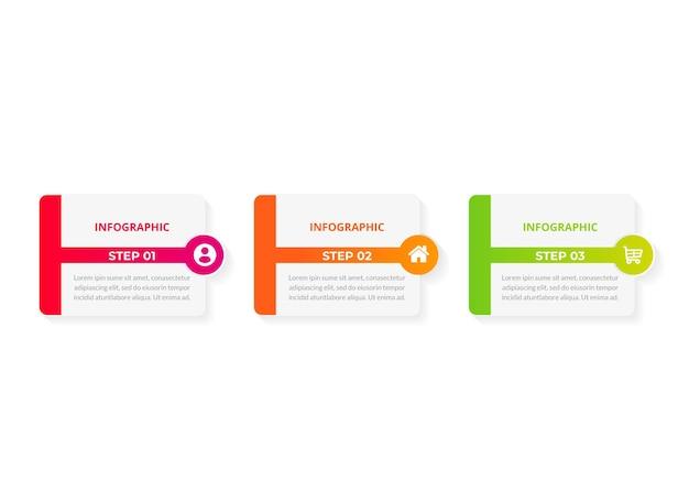 Modelo de infográfico de negócios de apresentação de design infográfico com 3 opções