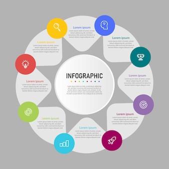 Modelo de infográfico de negócios de apresentação de etapas com 8 opções