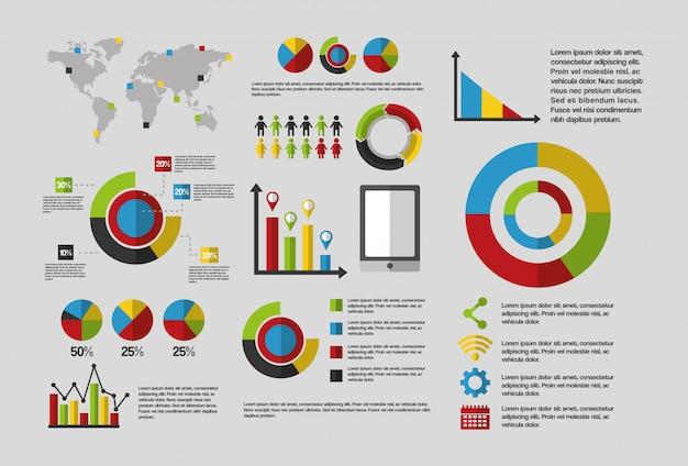 Modelo de infográfico de negócios de dados estatísticos