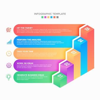 Modelo de infográfico de negócios de etapa de processo