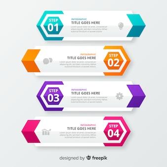 Modelo de infográfico de negócios de etapas