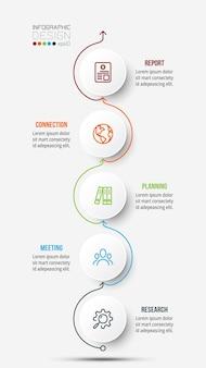Modelo de infográfico de negócios de gráfico de linha do tempo