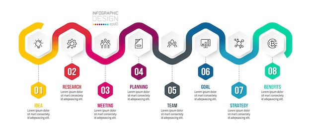 Modelo de infográfico de negócios de gráfico de linha do tempo. Vetor Premium