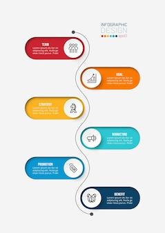 Modelo de infográfico de negócios de gráfico de linha do tempo.
