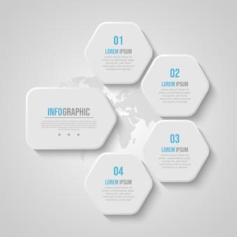 Modelo de infográfico de negócios de polígono azul suave