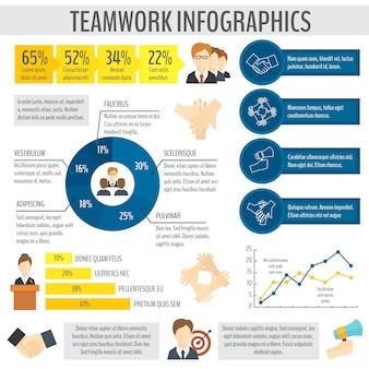 Modelo de infográfico de negócios de trabalho em equipe