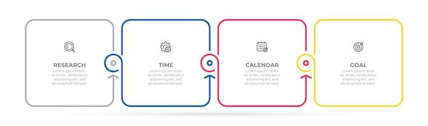 Modelo de infográfico de negócios design de linha fina com ícone e 4 opções ou etapas