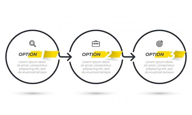 Modelo de infográfico de negócios. design de linha fina com seta e 3 opções ou etapas.