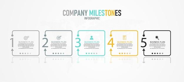 Modelo de infográfico de negócios design de linha fina, seta apontando com ícone e 5 opções