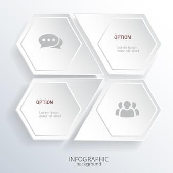 Modelo de infográfico de negócios digitais com hexágonos de luz em forma de octógono e ícones isolados