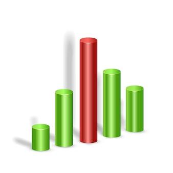 Modelo de infográfico de negócios em branco com cinco colunas 3d coloridas em branco isolado