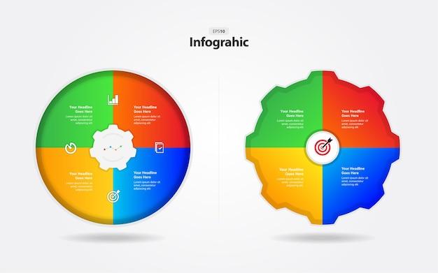 Modelo de infográfico de negócios em forma de círculo e roda dentada