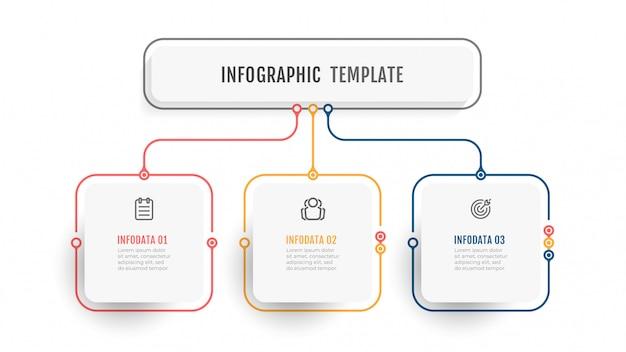 Modelo de infográfico de negócios. etiqueta de design de linha fina com ícone e 3 opções, etapas ou processos.