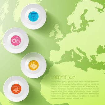 Modelo de infográfico de negócios globais com círculos e mapa-múndi