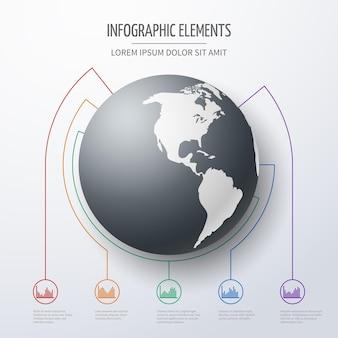 Modelo de infográfico de negócios internacionais