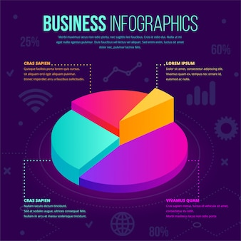 Modelo de infográfico de negócios isométrica. ícone de gráfico de torta de gradiente de néon 3d, conceito criativo para layout de documentos, relatórios, apresentações, infográficos, design web, aplicativos. ilustração