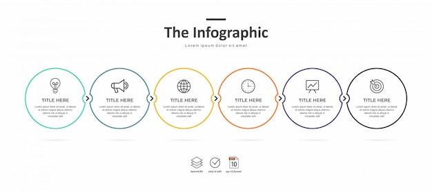 Modelo de infográfico de negócios, linha fina e design plano com 6 opção ou passo