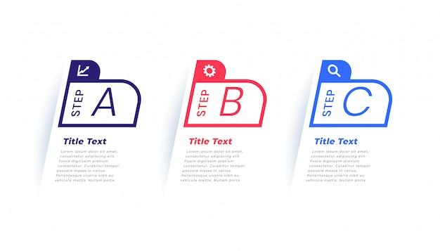 Modelo de infográfico de negócios modernos de três etapas