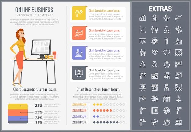 Modelo de infográfico de negócios on-line e conjunto de ícones