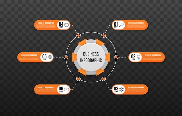 Modelo de infográfico de negócios para apresentações de negócios fluxograma de sites da web