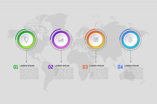 Modelo de infográfico de negócios passo
