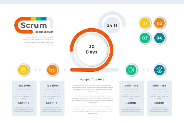 Modelo de infográfico de negócios scrum
