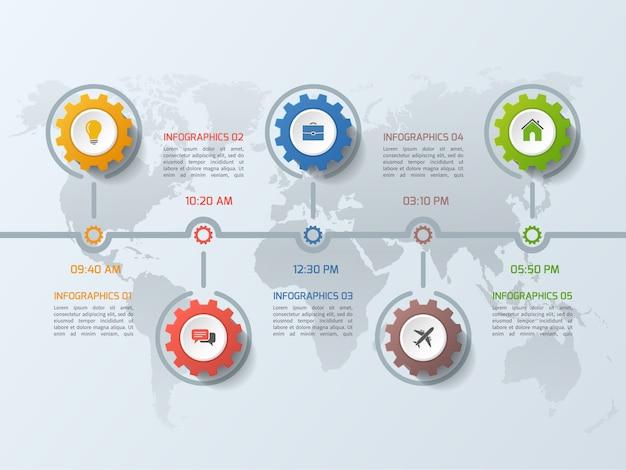 Modelo de infográfico de negócios timeline com dentadas de engrenagens