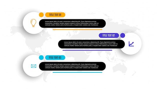Modelo de infográfico de negócios três terceiro estilo inferior