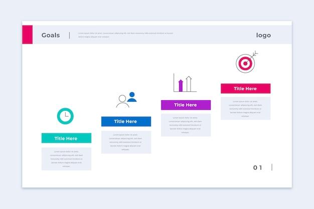 Modelo de infográfico de objetivos de negócios