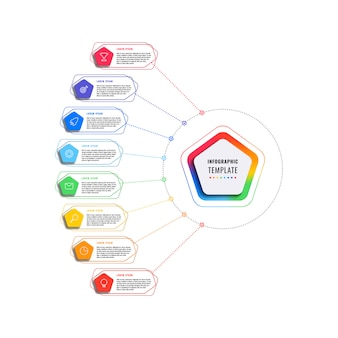 Modelo de infográfico de oito etapas com pentágonos e elementos poligonais em um fundo branco. visualização de processos de negócios modernos com ícones de marketing de linha fina. ilustração