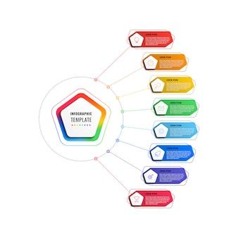 Modelo de infográfico de oito etapas com pentágonos e elementos poligonais em um fundo branco. visualização de processos de negócios modernos com ícones de marketing de linha fina.