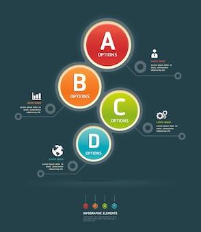 Modelo de infográfico de opções coloridas