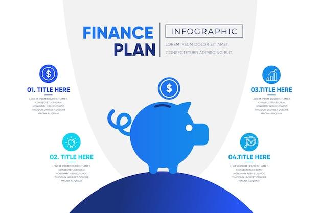 Modelo de infográfico de plano de gradiente azul finanças