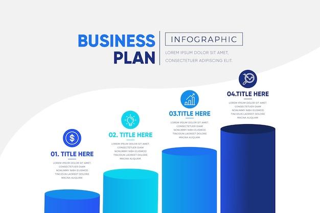 Modelo de infográfico de plano de negócios azul gradiente