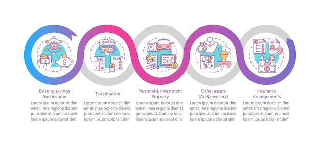 Modelo de infográfico de plano financeiro abrangente. economias existentes, elementos de design de apresentação de impostos.