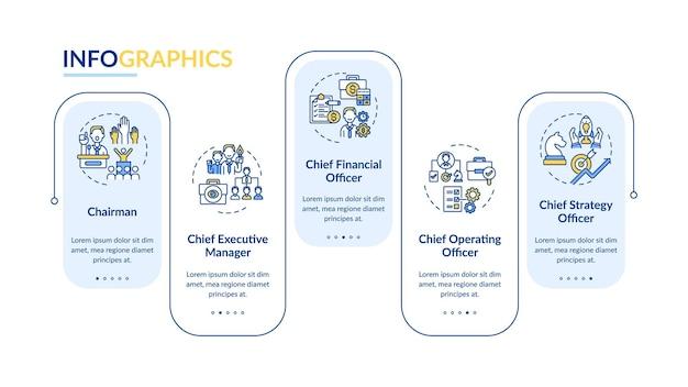 Modelo de infográfico de posições de alta gerência. elementos de design da apresentação do presidente. visualização de dados em 5 etapas. gráfico de linha do tempo do processo. layout de fluxo de trabalho com ícones lineares