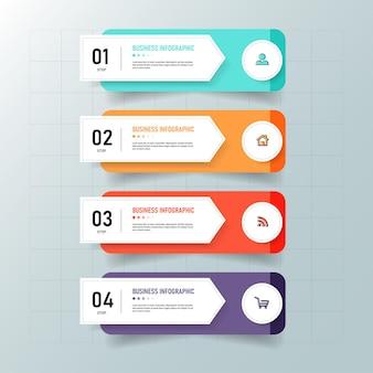 Modelo de infográfico de processo de 4 etapas Vetor Premium