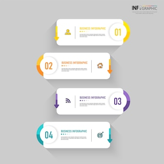 Modelo de infográfico de processo de 4 etapas