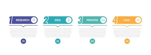 Modelo de infográfico de processo de negócios com opções ou etapas. gráfico de ilustração.