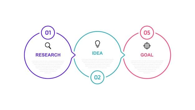 Modelo de infográfico de processo de negócios com opções ou etapas. linha fina . gráfico de ilustração.